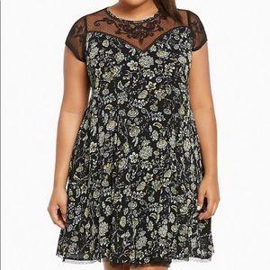 Floral Print Gauze Embroidery A-Line Dress NWT 1x